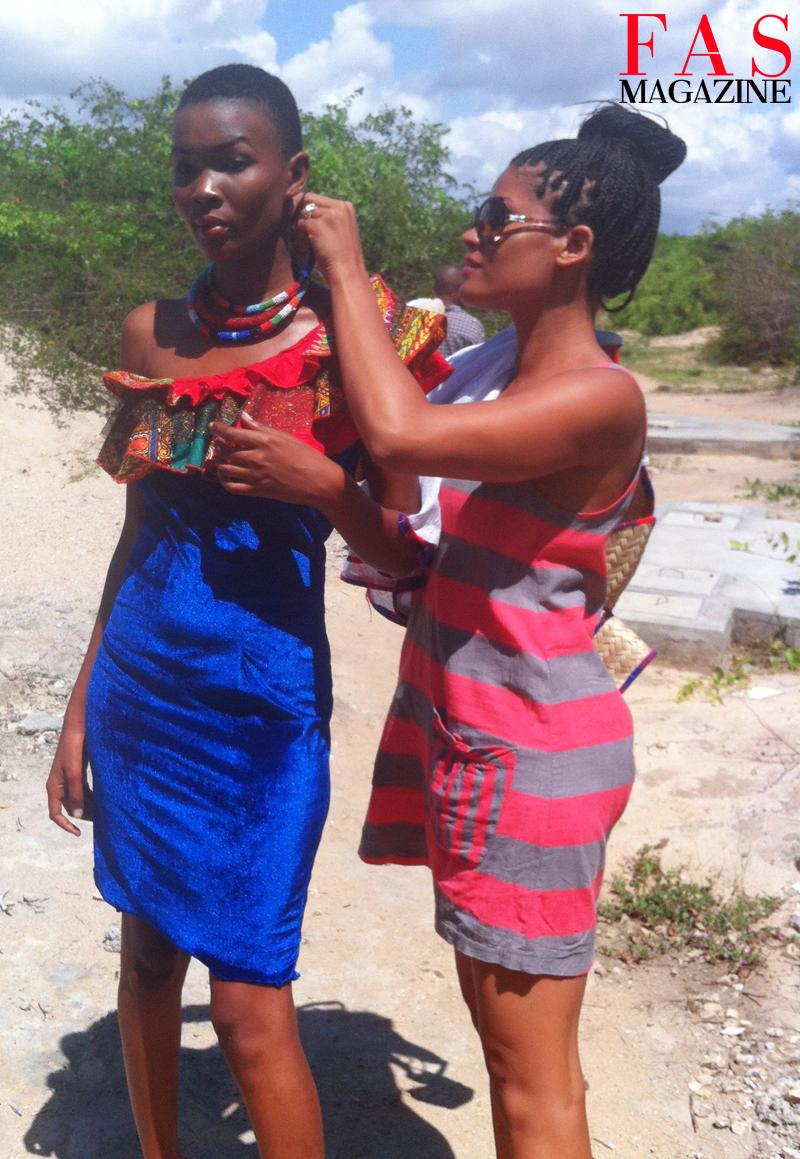 Fashion editor/stylist Shellina Ebrahim styling Miss Universe 2013 Betty Boniface at Saadani National Park, Tanzania.