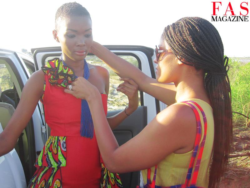 Fashion editor/stylist Shellina Ebrahim styling Miss Universe Tanzania 2013 Betty Boniface at Saadani National Park, Tanzania.