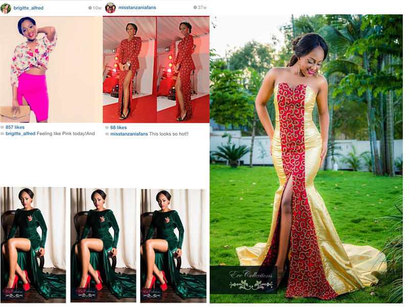 Miss Tanzania 2012, Brigitte Alfred looking glamourous in high slit numbers designed by Eve Collections.
