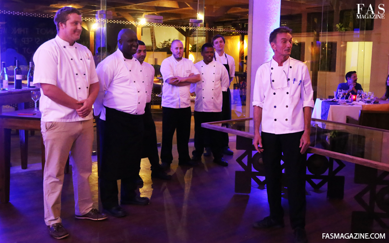 A team of chef's who made Gourmet Zanzibar's Essque Zalu edition possible. Chef Jussi Husa of Essque Zalu, Chef Alan of Double Tree Hilton, Chef Lucas Wollman of Kilindi, Chef Ludek Munzar of Tulia and chef Bouya Jean Pascal Diedhiou of Melia.
